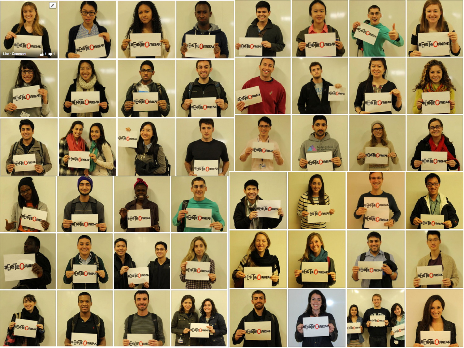 Mount Sinai student photos, supporting the #EndTheOutbreak social media campaign.